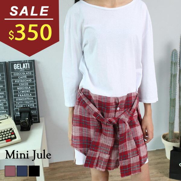 洋裝 假兩件格紋拼接綁帶休閒連身裙 小豬兒 MiNi Jule ~YUA62000616~