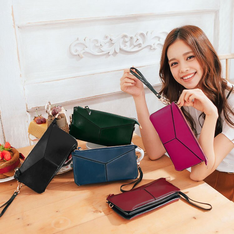 質感仿真皮2用長夾,立體簡約款手掛包 皮夾 斜背包 可放iphone6s 護照 89.Alley ☀5色 0