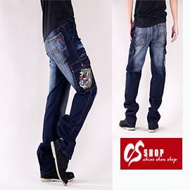 CS衣舖 日式風格 立體刺繡 刷白 中直筒牛仔褲 7227 0