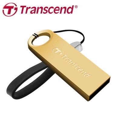 創見 JF520G 32G  USB2.0 奢華金 鋅合金防塵防震防水碟(附贈精美皮繩) / 個