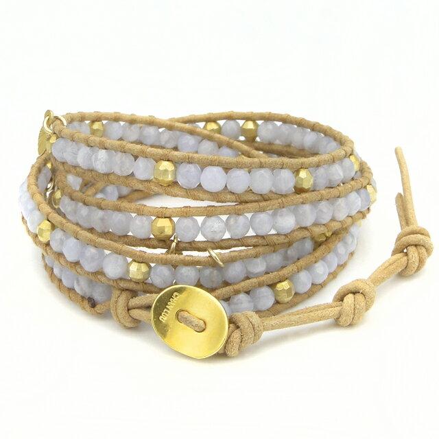 【現貨商品】【CHAN LUU】藍色瑪瑙鍍金珠墜飾米色皮繩手環/5圈(CL-BG-3974BluLacAga-Beige  0777500053) 3