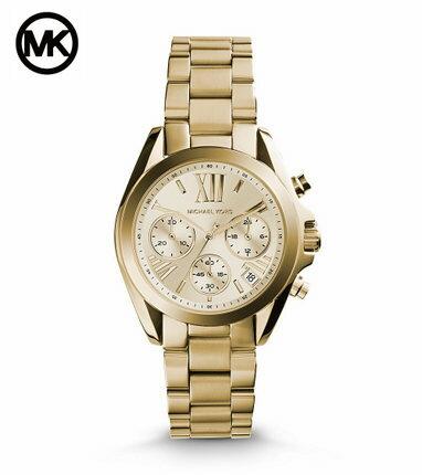 美國Outlet 正品代購 MichaelKors MK 金色熱吻巴黎三環計時手錶腕錶 MK5798 1