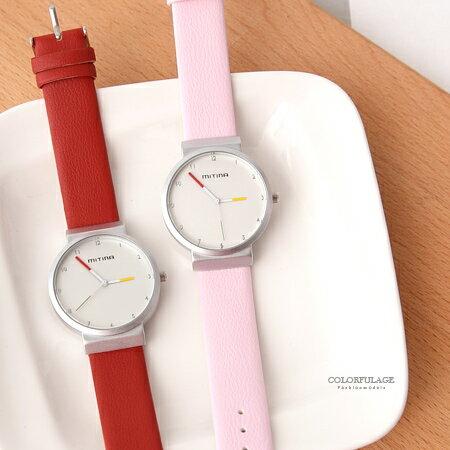 手錶 簡約銀色數字霧面錶殼撞色指針皮革手錶腕錶 極推優質錶款 柒彩年代【NE1851】單支售價 0