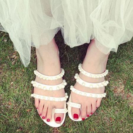 拖鞋 典雅唯美珍珠皮革平底拖鞋【S1667】☆雙兒網☆ 4
