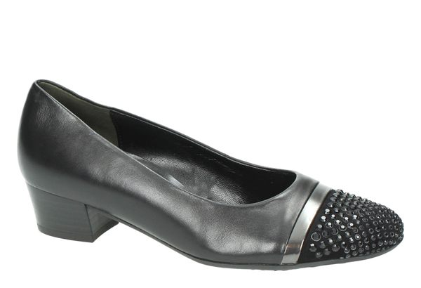 Gabor 鑽飾寬楦優雅低跟鞋 黑 2