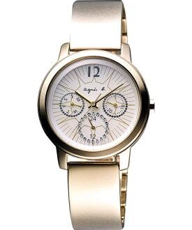 agnes b.閃耀香檳金太陽能手環錶BT5006P1(V14J-0BL0K)/淡粉面32mm