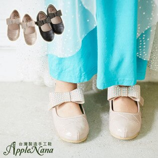 AppleNana。MIT手工童鞋。大大燙鑽蝴蝶結亮晶晶全真皮娃娃鞋【QBC70501080】蘋果奈奈