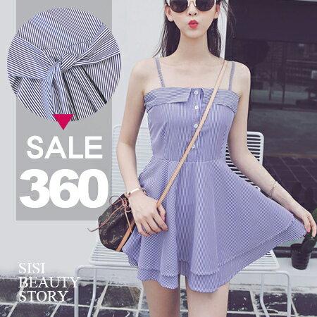 SISI~D6165~ 百搭修身顯瘦性感細肩吊帶條紋縮腰雙層傘狀裙襬連身裙洋裝 ~  好康