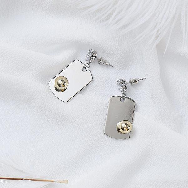 PS Mall  圓珠方盤幾何耳釘簡約 師立體 金銀鑲鑽耳環~G2292~