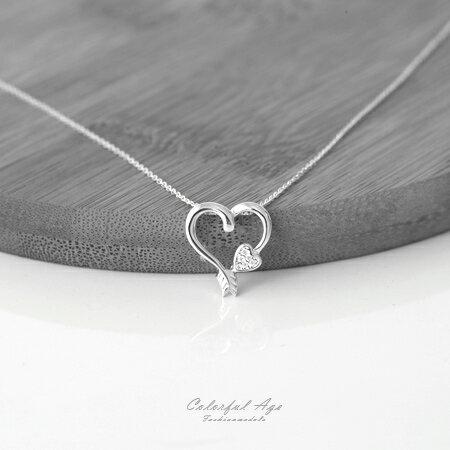 925純銀項鍊 愛心箭頭 水鑽鎖骨鍊頸鍊 鏤空感令人著迷 抗過敏 柒彩年代~NPB41~