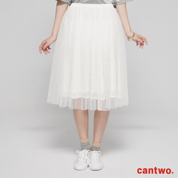 cantwo蕾絲花朵網紗及膝裙(共二色) 0
