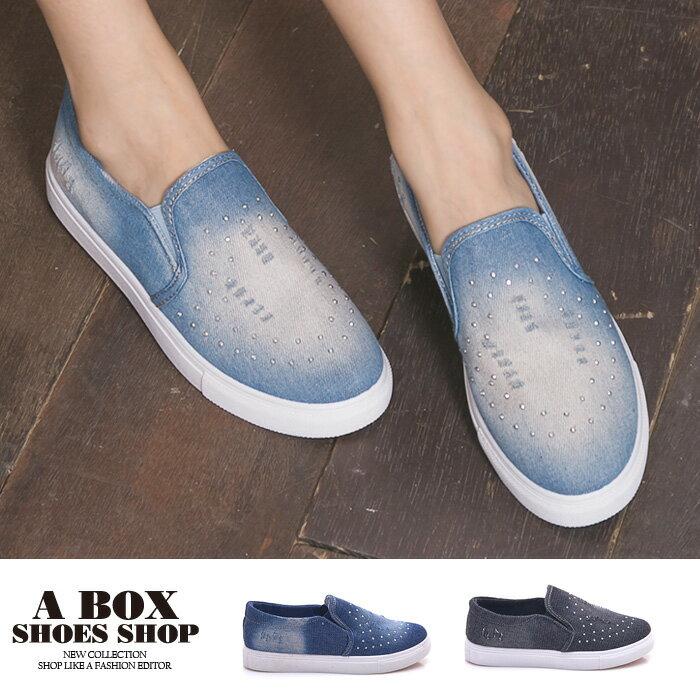 格子舖*【AW106】簡單經典牛仔布刷白刷破 奢華低調水鑽 鬆緊穿拖 布面/帆布鞋 懶人鞋 3色 0