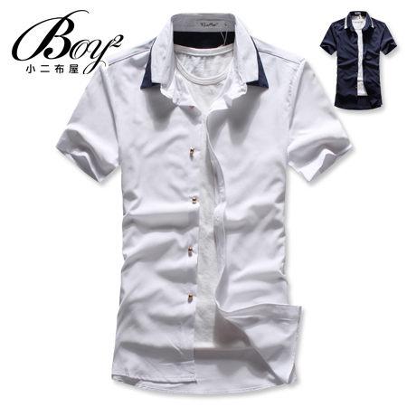 ☆BOY-2☆ 【NAA838】型男潮流修身簡約素面休閒壓色短袖襯衫 1