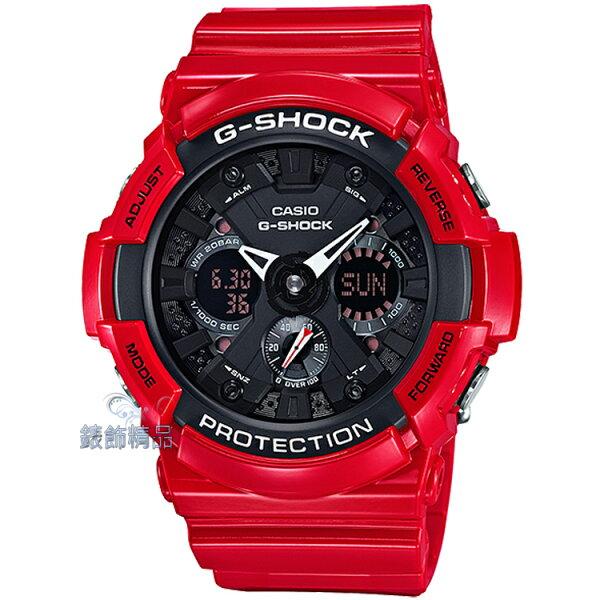 【錶飾精品】現貨 卡西歐CASIO G-SHOCK多層次錶盤金屬風格 紅x黑死侍配色GA-201RD-4ADR全新原廠正品 生日情人禮品