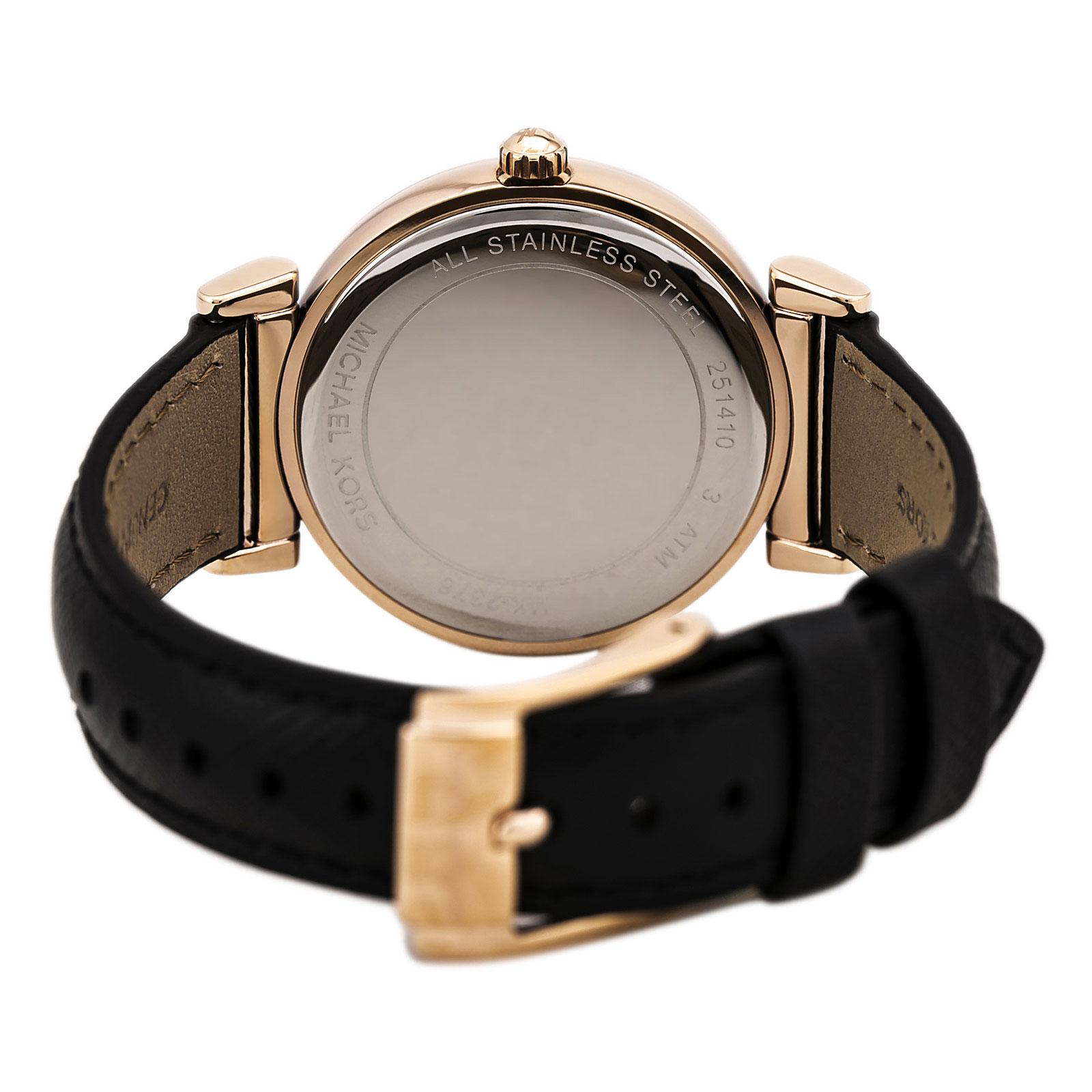 美國Outlet 正品代購 MichaelKors MK 玫瑰金鑲鑽 黑色皮帶三環計時手錶腕錶 MK2376 4