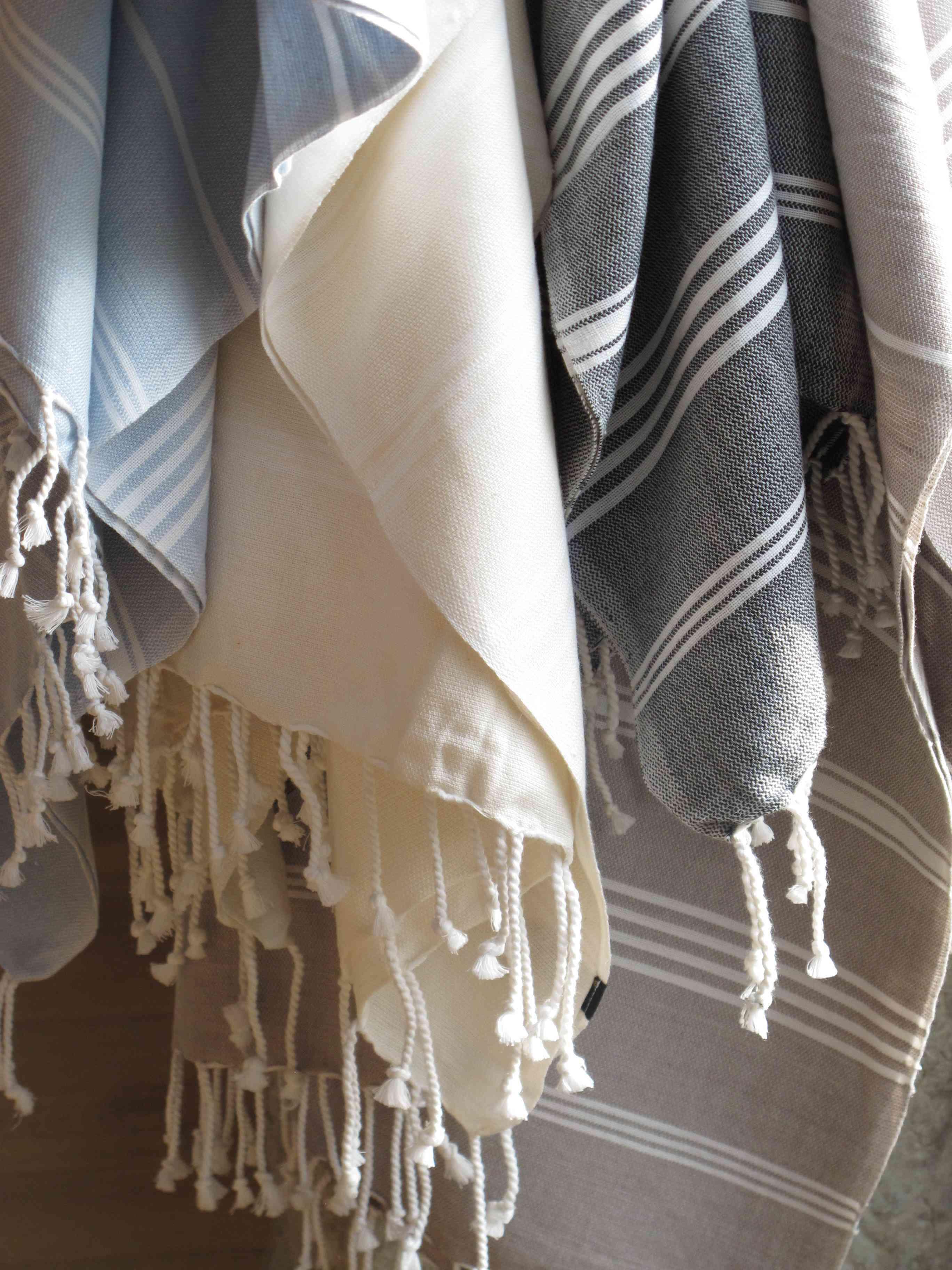 『法國原裝』獨家代理 - 100% Coton Organic  有機綿 (超吸水)歐洲經典 橘色條紋大浴巾 Foutas  1