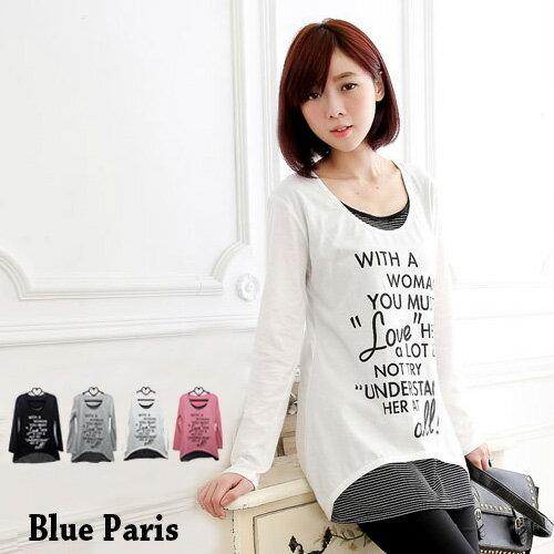 促銷免運 - 上衣 - 長袖假兩件拼接條紋字母長版上衣 《4色》藍色巴黎 【22272】 現貨 MIT 0