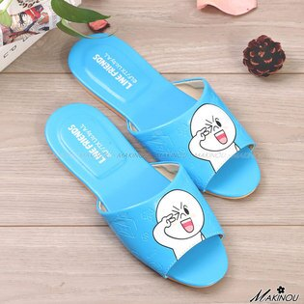室內拖|LINE饅頭人皮革質感室內拖鞋-台灣製|日本牧野 室內情侶拖鞋 居家拖鞋 MAKINO