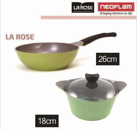 《韓國鍋具超值組》NEOFLAM 18cm陶瓷不沾湯鍋 EK-AG-C18 玫瑰鍋26公分深炒鍋 WP-26