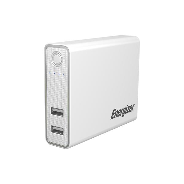 超大容量-8400mAh-Energizer®勁量行動電源UE8410【白色】- 支援手機平板充電、雙USB雙輸出、2A充電