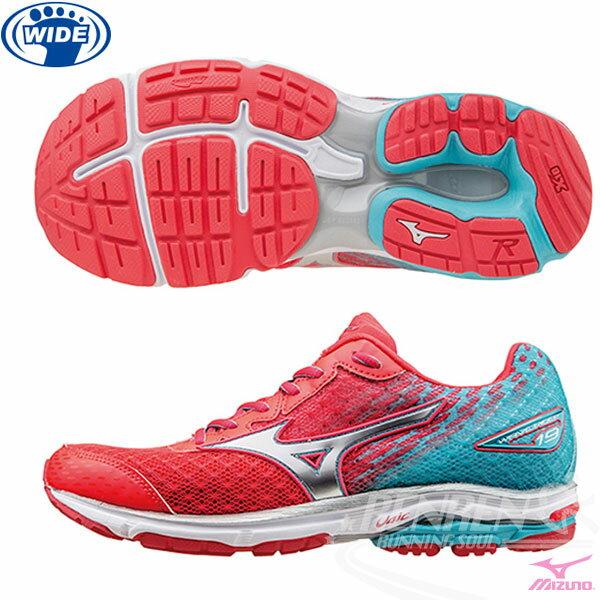 MIZUNO 美津濃 WAVE RIDER 19(W) 女慢跑鞋 路跑 (桃紅*銀*粉綠) 2016年下半年款