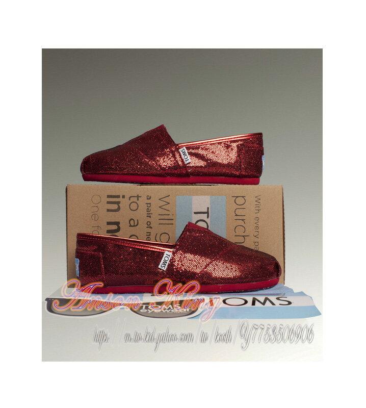 [女款] 國外代購TOMS 帆布鞋/懶人鞋/休閒鞋/至尊鞋 亮片系列  紅色 2