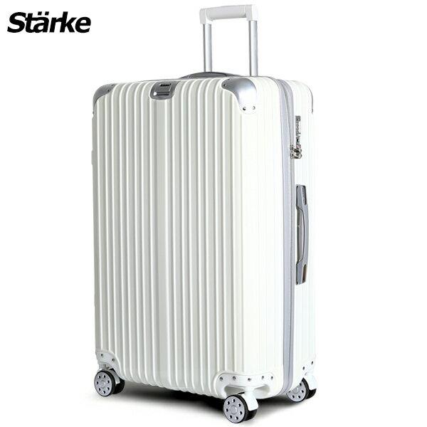 E&J【008002-01】starke  德國設計28吋 PC+ABS 鏡面防爆拉鍊硬殼行李箱 axs97 -白色