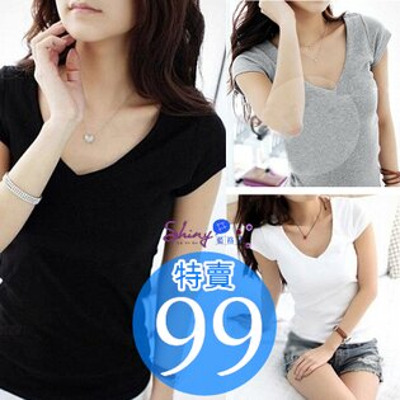 【D6032】shiny藍格子-簡單舒適.純色素面修身顯瘦V領短袖棉T