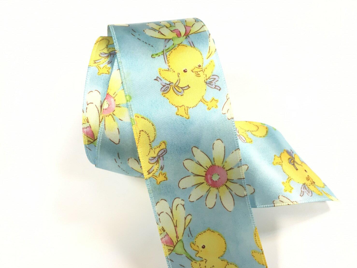 【Crystal Rose緞帶專賣店】黃色小雞單面緞緞帶 38mm 3碼 (4色) 0