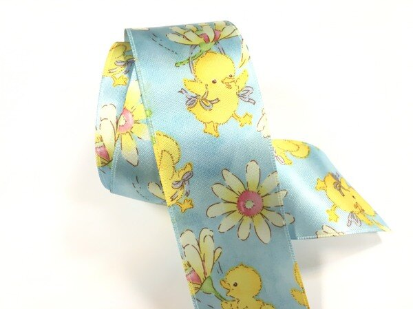 【Crystal Rose緞帶專賣店】黃色小雞單面緞緞帶 38mm 3碼 (4色)