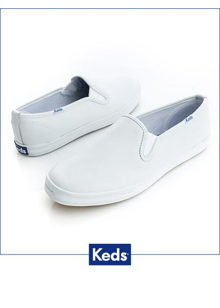 Keds 經典升級皮質休閒便鞋-白 1