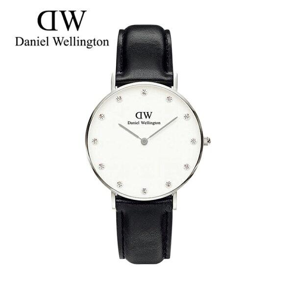 瑞典正品代購 Daniel Wellington 0961DW  銀 玫瑰金  真皮 錶帶 男女錶 手錶腕錶 34MM