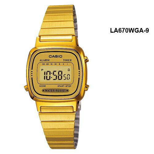 Reloj digital casio la670wga-9d -  retro dorado 0