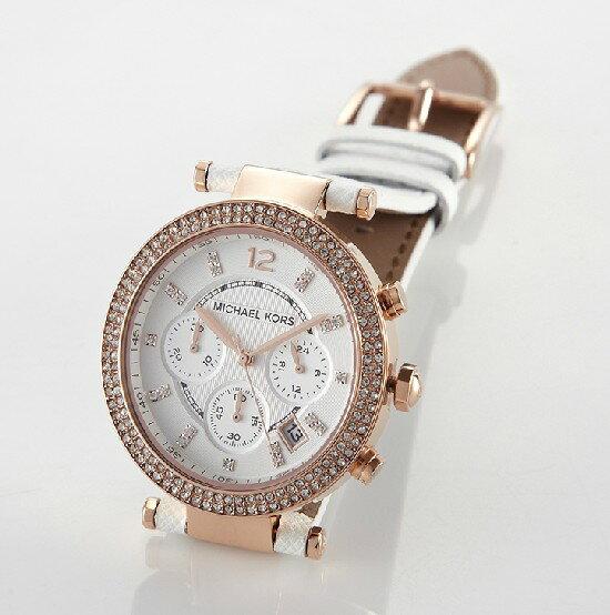 美國Outlet 正品代購 MichaelKors MK 玫瑰金鑲鑽 白色皮帶三環計時手錶腕錶 MK2281 2