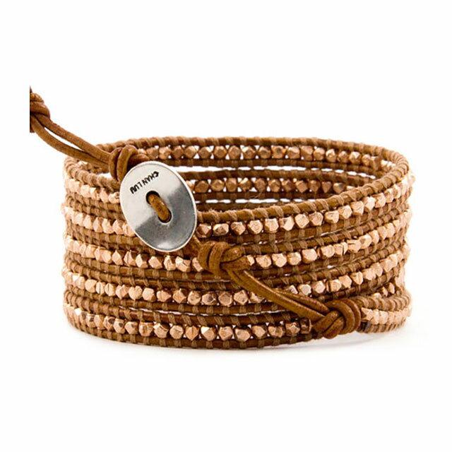 【現貨商品】【CHAN LUU】玫瑰金塊珠棕紅色皮繩手環/5圈(CL-BS-2095-Henna  05009000H5) 1