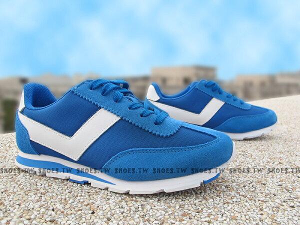《超值7折》Shoestw【61W1SO72RB】PONY SOHO 內增高 輕便 寶藍 白V