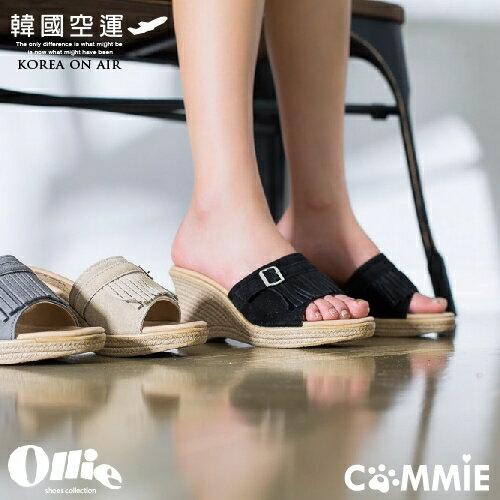 拖鞋~Ollie正韓氣質流蘇 楔型拖鞋.寶貝窩 .~OE18004~^( ^)