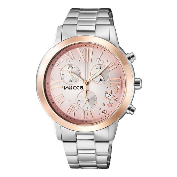 CITIZEN星辰WICCA^(BM1~237~91^)玫瑰羅馬三環 腕錶 粉紅面36mm
