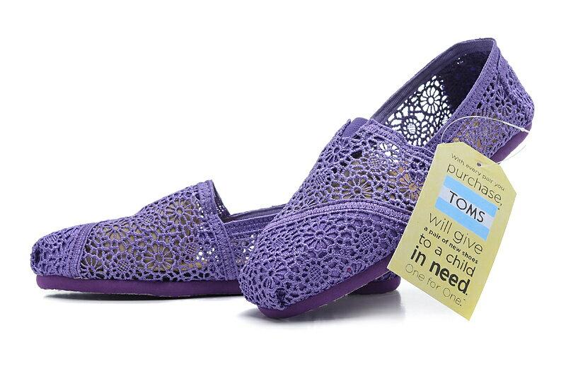 【TOMS】深紫色蕾絲鏤空繡花平底休閒鞋  Purple Crochet Women's Classics 6