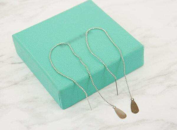 2385822水滴型金屬片活動式鍊條耳環、耳扣、耳勾、耳針、耳飾