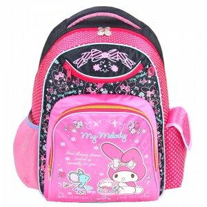 X射線【C944260】美樂蒂護脊書包L(坐姿老鼠.粉黑色),開學必備/兒童書包/雙肩包/手提包/卡通/後背包/melody