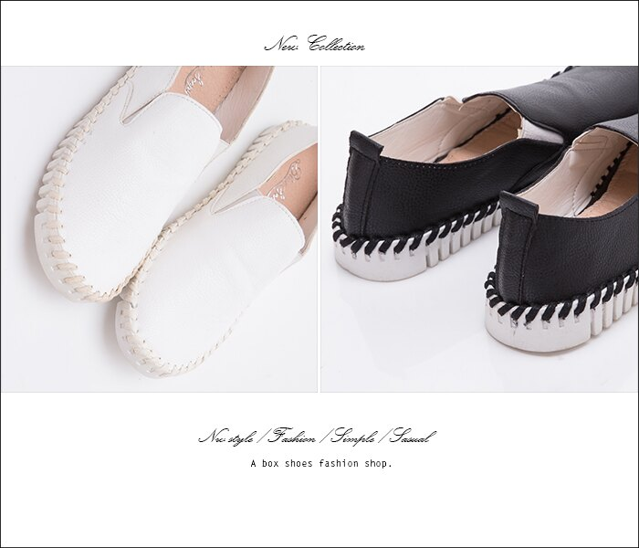 格子舖*【AAK-8】旅行休閒簡約大方 皮革特殊車線 鬆緊休閒懶人鞋 圓頭包鞋 小白鞋 2色 1