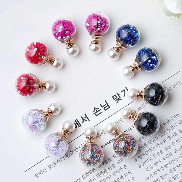 PS Mall  韓國時尚百搭雙面配戴珍珠炫彩大小耳釘 防過敏耳環【G1907】