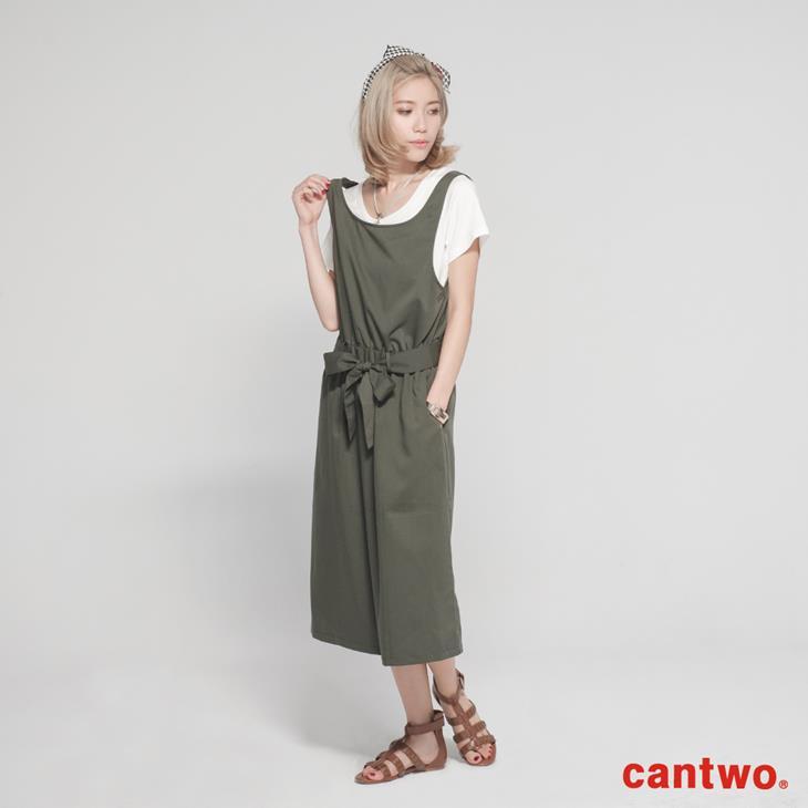 cantwo挖背連身裙+短T兩件式組合(共三色) 1