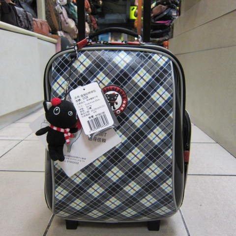 ~雪黛屋~UNME 造型拉桿背包萬用個人登機箱拉桿書包外出旅行上學上課 防水尼龍布 #3328 藍格