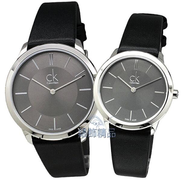 【錶飾精品】Calvin Klein凱文克萊CK手錶 時尚極簡薄型錶殼 K3M211C4+K3M221C4 鐵灰面黑皮帶對錶 全新原廠正品 情人生日禮品