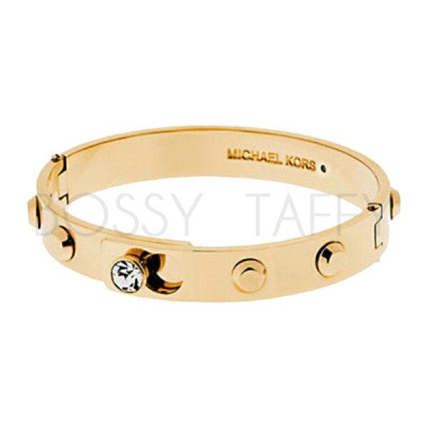 MICHAEL KORS 時尚金純鋼鑲鑽手環 MK Astor Gold-Tone Bangle MKJ4552