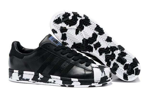 Adidas Originals Superstar Marble 2016男女情侶鞋慢跑鞋 (黑斑馬36-44)