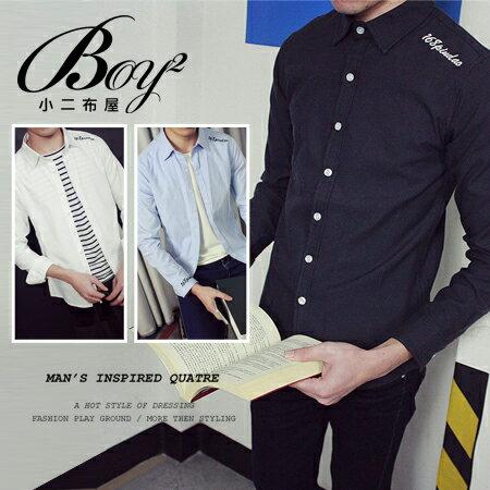 ☆BOY-2☆【NQ97009】韓版英文電繡長袖襯衫 - 限時優惠好康折扣