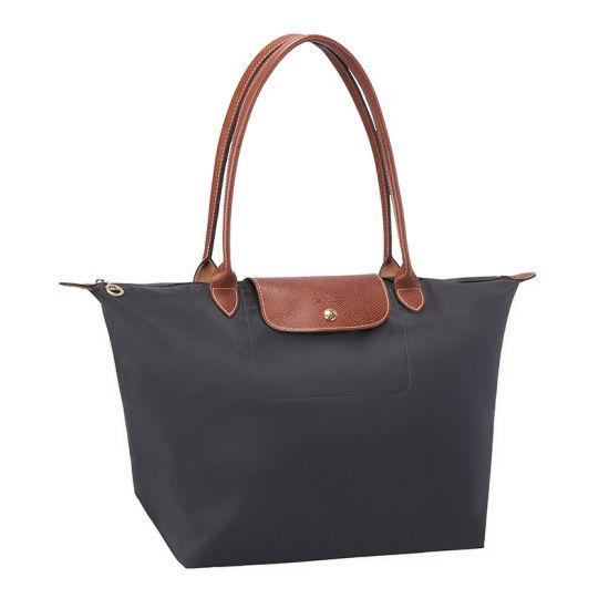 [長柄M號]國外Outlet代購正品 法國巴黎 Longchamp [1899-M號] 長柄 購物袋防水尼龍手提肩背水餃包 槍灰色 0